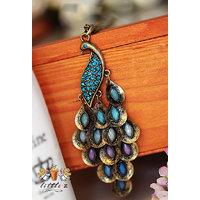 Cinderella Long Chain Peacock Pendant Necklace