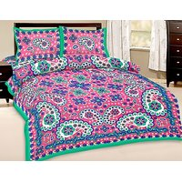 Shop Rajasthan Pure Cotton Double Bed Sheet With 2 Pillow Covers (SRA2862)