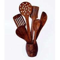 Woodenclave Proficio- Set Of 6 Cooking & Serving Spoons With Holder