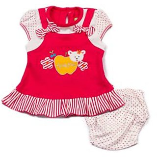 Embroidered Apple With Striped And Dots Frock And Panty Set (Pink)