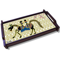 Kolorobia Natural Warli Wooden Tray - 78677398