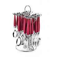Pogo Orbit Red Stainless Steel Cutlery Set With Stand - 25 Pcs