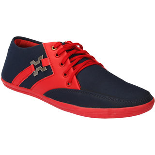 Drivn Black & Red Synthetic Leather Casual Shoes