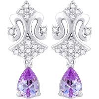 Hoop's Silver with Cz Diamond Purple Earrings (Design 1)