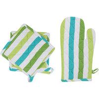 IRIS INNOVATIONS Cotton Green Glove and Pot Holder Set