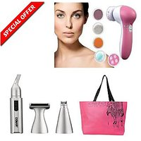 BEAUTY COMBO - 5 In 1 Face Massager And Eyebrow Trimmer With Free Shopping Bag