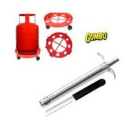 Combo Of Gas Cylinder Trolley + Gas Lighter With Sharp Kitchen Knife