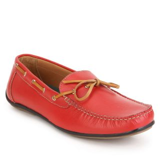 Aditi Wasan Genuine Leather Men's Red Moccasins Shoe With Brown Leather Tassels