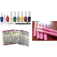 Combo 6 Pcs Nail Paint + 6 Pcs Lip Color + 3 Pcs Nail Art Sticker + 1 Pcs Brush