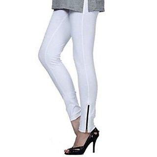 Softwear White Cotton Lycra Zipper Pants