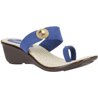 Azores Women's Blue Velvet Sandals