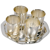Monil German Silver 4 Glass With Tray Set