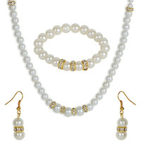 The Pari White & Golden Necklace Set With Earrings & Bracelet (TPS-1)