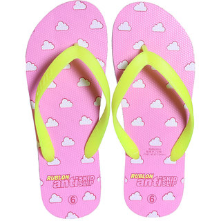 FIZIK Women's Flip Flop Pink-Yellow (Rublon-4)