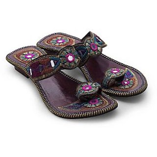 Women Multi Color Traditional High Heeled Chappal 339 {Size:6}