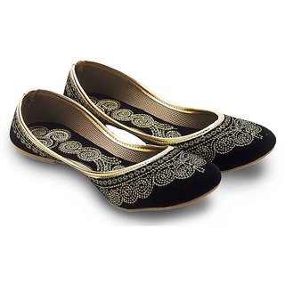Women Ethnic Black Velvet Fancy Ballerina Sandals 352 {Size:5}