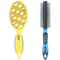 Combo Of Sporty Rubber Grip Round & Sporty Vented Hair Brush - By Roots