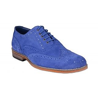 Bxxy Blue Suede Leather Brogue Shoes With Leather Sole