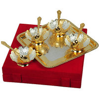 Golden 4 Piece Bowl With Spoon And Tray