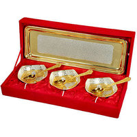 Golden 3 Piece Bowl With Spoon And Tray