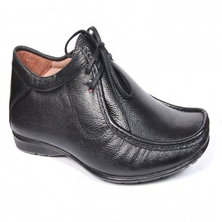 Runbird Trendy Black Leather Derby Shoes