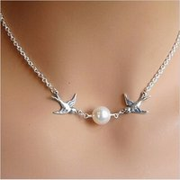 New Twin Bird And Pearl (10 Mm) Silver Color Chain Necklace For Women & Girls.