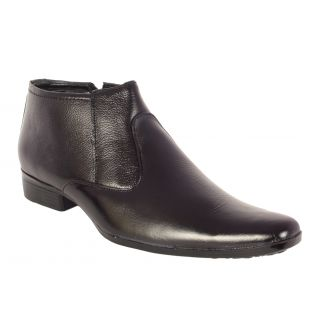 Black High Ankle Leather Boots