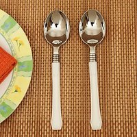 Pebbleyard Designer Disposable Spoons Silver And White