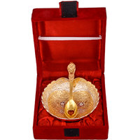 "GS Museum Gold & Silver Plated 4"" Dil Bowl With Spoon"