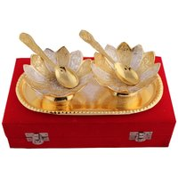 GS Museum Silver And Gold Plated Kamal Bowl Set 5 Pcs.