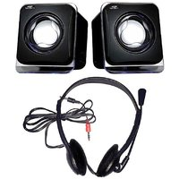 Combo Of Black USB Speaker & Headphones With Mic