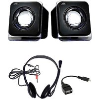 Combo Of Black USB Speaker, OTG Cable & Headphones With Mic