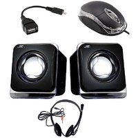 Combo Of Black USB Speaker, USB Mouse, OTG Cable & Headphones With Mic
