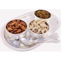 GS Museum Silver Plated 3 Bowl Set With Dryfruit