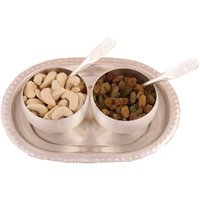 GS Museum Silver Plated 2 Met Finish Bowl Set With Dryfruit
