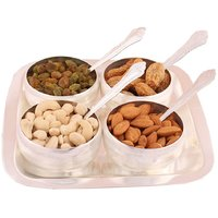 GS Museum Silver Plated 4 Bowl Set With Dryfruit