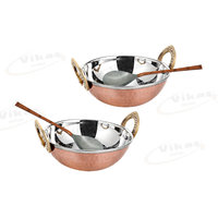Copper Steel Kadai With 2 Spoon (brass Handle)