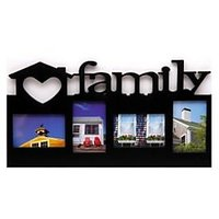 Blacksmith Black Virgin Plastic Family Wall Mounted 4 Photo Frame Collage