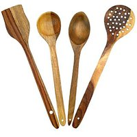 Wooden Handmade Serving And Cooking Spoon Kitchen Utensil Set