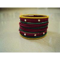 Ethnic Silk Thread Bangles ( Set Of 12 )