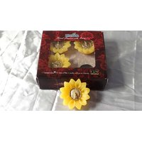 Golden Lily Gift Pack Of 4 Yellow Floating Candles