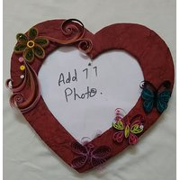 Handmade Heart shaped Photo Frame with quilling work