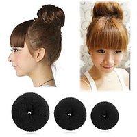 Lady Hair Styling Bun Maker Twist Curler Tool Clip Sponge Donut,1+1+1 = Set Of 3