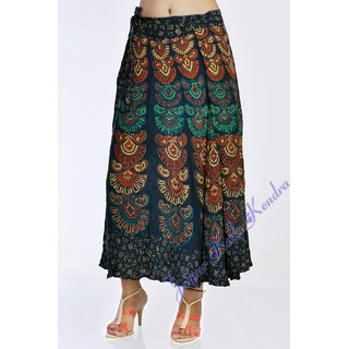 Indian Women Printed Green Color Rayon Wraparound Long Skirt