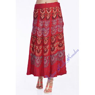 Indian Women Printed Rayon Wraparound Long Skirt Red Color