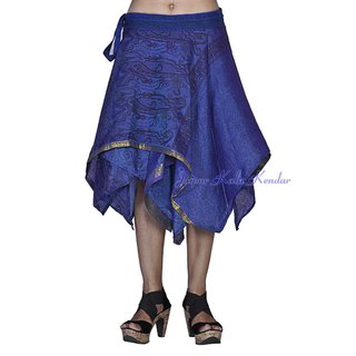 Women Silk Fabric Blue Color Stylish Wraparound Short Skirt