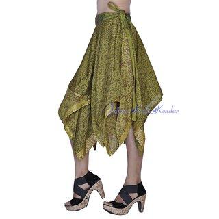 Women Silk Fabric Green Color Stylish Wraparound Short Skirt