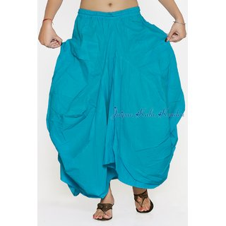 Women Cotton Stylish Pockets Cotton Sky Blue Skirt