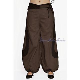 Indian Men Women Unisex Brown Color Cotton Alladin Harem Pants With Stylish Poc