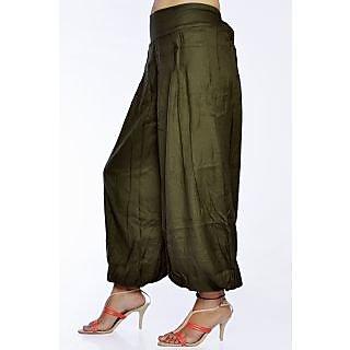 Women Stylish Pure Rayon Mahandi Green Color Harem Pants Bottom Trousers